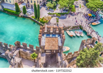 SIRMIONE, ITALY - JUNE 1: The Scaliger Castle in Sirmione, Italy, June 1, 2014. Surrounded by the water, the Scaliger Castle is considered one of the finest examples of medieval fortification