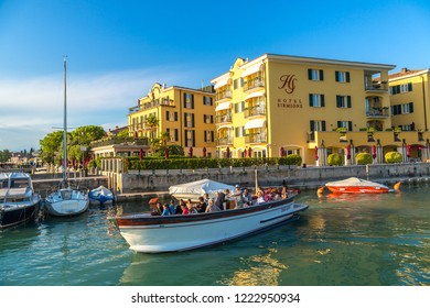 SIRMIONE, ITALY - JUNE 16, 2016: Sirmione on lake Garda in a beautiful summer day, Italy on June 16, 2016