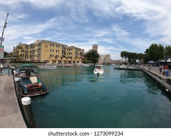 Sirmione / Italy - June 24, 2018: View to the medieval Rocca Scaligera castle in Sirmione town on Garda lake, Italy.