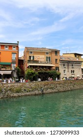 Sirmione / Italy - June 24, 2018: Picturesque street in Old Town of Sirmione, Italy.