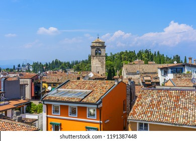 Sirmione, Italy - June 28, 2018: Sirmione, northern Italy. Panorama from the medieval castle Scaliger on lake Garda.
