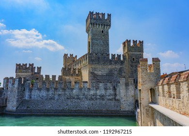Sirmione, Italy - June 28, 2018: Sirmione, northern Italy. medieval castle Scaliger on lake Garda.