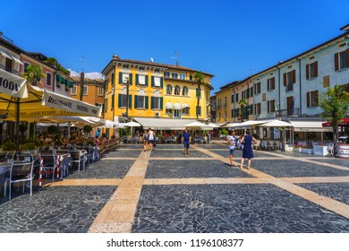 Sirmione, Italy - June 28, 2018: Sirmione downtown with tourist