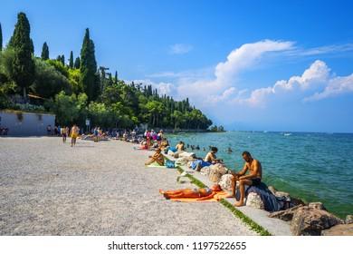 Sirmione, Italy - June 28, 2018: Garda Lake In sirmione