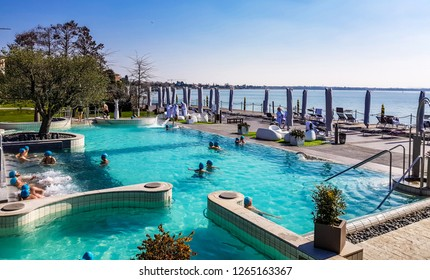 Sirmione, Italy, march 23, 2018: Aquaria is the Thermal Spa Center of Terme di Sirmione. An unique place surrounded by the beautiful of Lake Garda where people can relax and heal in the thermal waters