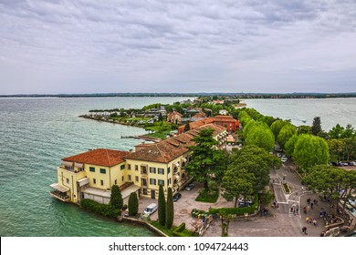 Sirmione, Italy - May 20, 2018: Sirmione old town, Garda lake, Lombardy, Italy.