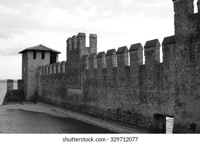Sirmione, Italy - October 08, 2015: Sirmione Castle is on the edge of Lake Garda