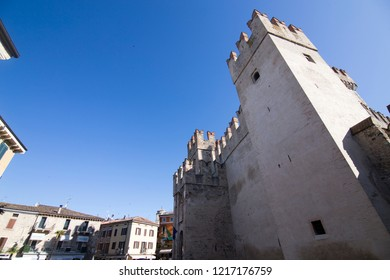 SIRMIONE ITALY: Roca scaligera the castle in Sirmione Brescia Lombardy on April 30, 2018 Italy