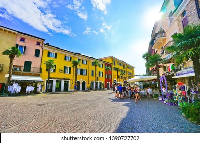 Sirmione, Italy - September 6, 2016 : View of Sirmione at the lakeside of Lake Garda in summer on September 6, 2016. Sirmione is a popular holiday location in northern Italy.