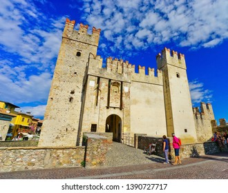 Sirmione, Italy - September 6, 2016 : View of Scaligero Castle in Sirmione at the lakeside of Lake Garda in summer on September 6, 2016. Sirmione is a popular holiday location in northern Italy.