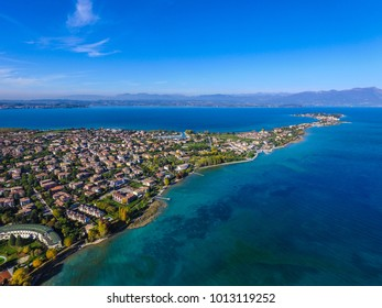 Sirmione, Lago di Garda - ITALY spectacular view on lake, italian summer view aerial by Drone