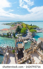 SIRMIONE, LAKE GARDA, ITALY - August 16, 2017: Panoramic view of Sirmione from the Scaliger Castle with lake Garda in background