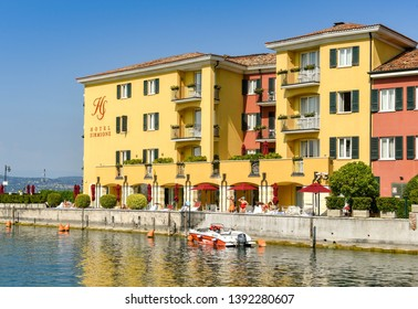 SIRMIONE, LAKE GARDA, ITALY - SEPTEMBER 2018: The Hotel Sirmione on the lakeside in Sirmione on Lake Garda.