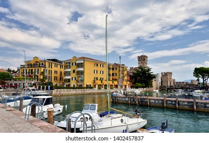 SIRMIONE, LAKE GARDA, ITALY - SEPTEMBER 2016: The Hotel Sirmione on the lakeside in Sirmione on Lake Garda.