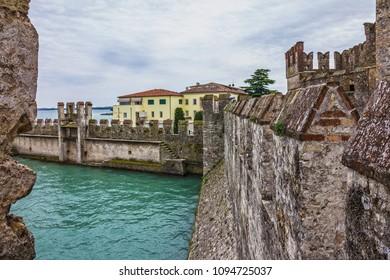 Sirmione old town, Garda lake, Lombardy, Italy. Castello dei Scaligeri
