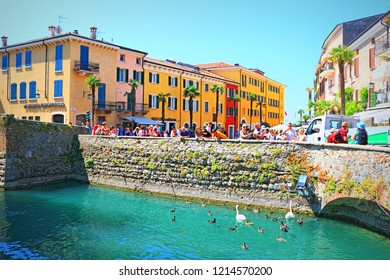Sirmione,Lombardy,Italy-July 19 2018: Street view of lakeside town of Sirmione and its beautiful historic center situated on top of a small peninsula that juts out into the southern part of Lake Garda