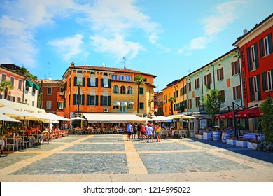 Sirmione,Lombardy,Italy-July 19 2018:A view of the picturesque Piazza Giosue Carducci square in the historic center of Sirmione -lakeside town on Garda Lake