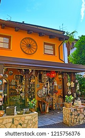 Sirmione,Lombardy/Italy-July 19 2018:Souvenirs on display in souvenir shop in Sirmione town -summer resort at Garda Lake