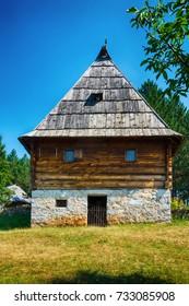 Sirogojno, Serbia August 05, 2017: Old Serbian traditional house