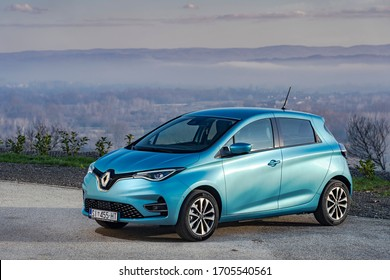 Sisak, Croatia - December 8, 2019: New Renault Zoe stopped on a road. The second generation of popular french full electric car has more powerful, 50kWh battery and therefore more range.