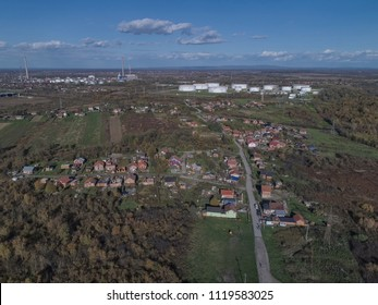 SISAK, CROATIA - October 30, 2017: Aerial view of the Romani village Capraske Poljane settled on the edge of the city.