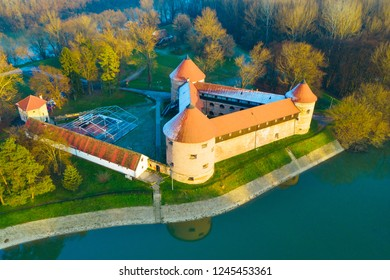 Sisak Fortress on the bank of Kupa River, historic monument, Croatia, in autumn