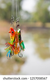 SISAKET ,THAI–CIRCA  DECEMBER  2018 -  Fake bait ( Jig , Plug, Spinner) for the fisherman ( Angler) made of wood and plastic. Used for freshwater fishing such as Snakehead fish of DECEMBER  2018.