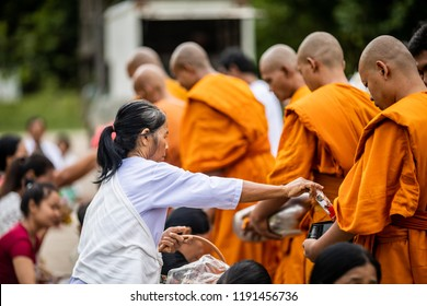 """SISAKET ,THAI–CIRCA SEPTEMBER 2018-The villagers of Srisa-ard to make Merit in Srisa-ard temple in occasion """"Sart Day"""". This is a sacrifice this merit for the Deceased was held of September 2018"""