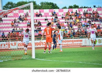 SISAKET THAILAND- JUNE 13:Narong Wongtongkam (GK) of Sisaket FC. in action during Friendly match between Sisaket FC and Buriram united at Sri Nakhon Lamduan Stadium on June 13,2015,Thailand