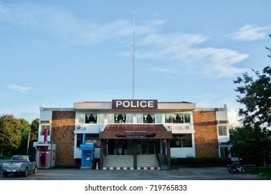 Sisaket, Thailand - September 17, 2017 : Photo of Phusing Police station at Sisaket Thailand