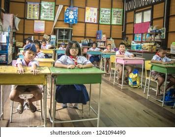 SISAKET THAILAND, SEPTEMBER 20,2018: Thai students at Ban samo School studying in the classroom. Sisaket Province, Thailand Septemberl 20, 2018