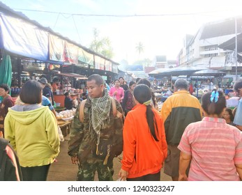 SISAKET, THAILAND – SEPTEMBER 24, 2018, Some people in Katthalak Market in Sisaket Thailand. Traveling in Sisaket Thailand. Blurred photo.