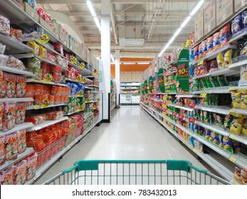 Sisaket, Thailand-December 27, 2017-The photo of Shoping in supermarket, store in Thailand, Freestyle time