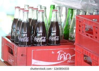 SISAKET THAILAND-December 3 : Coca Cola drinking on December 3, 2018 Coca Cola bottle on tray of Sisaket Thailand . - Image