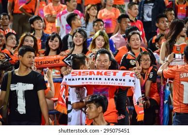 SISAKET THAILAND-JULY 4: Sisaket FC Fans cheer during  Thai Premier League between Sisaket FC and Chainat Hornbill FC at Sri Nakhon Lamduan Stadium on July 4,2015,Thailand