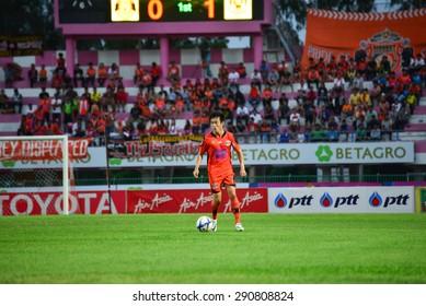 SISAKET THAILAND-JUNE 21: Nuttawut Khamrin of Sisaket FC. in action during  Thai Premier League between Sisaket FC and Navy FC at Sri Nakhon Lamduan Stadium on June 21,2015,Thailand