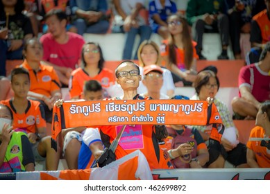 SISAKET THAILAND-JUNE 22: Sisaket FC Fans cheer during Thai Premier League between Sisaket FC and Buriram United FC at Sri Nakhon Lamduan Stadium on June 22,2016,Thailand