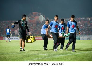 SISAKET THAILAND-MARCH 7: Players of Gulf Saraburi FC. injured during Thai Premier League between Sisaket FC and Gulf Saraburi FC at Sri Nakhon Lamduan Stadium on March 7,2015,Thailand