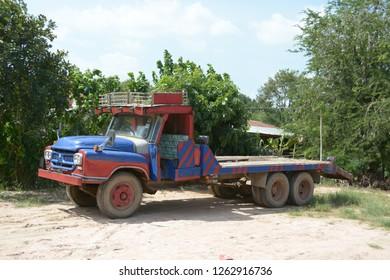 SISAKET THAILAND-November 20 : old truck in garden on November 20, 2018 Thailand police station public of Sisaket Thailand .