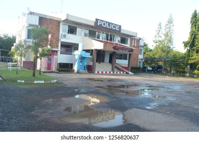 SISAKET THAILAND-November 20 : Phusing Police station on November 20, 2018 Thailand police station public of Sisaket Thailand . - Image