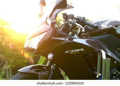 SISAKET THAILAND-November 4 : Police Honda motorcycle in Morning on November 4, 2018 at Phusing Sisaket Thailand .
