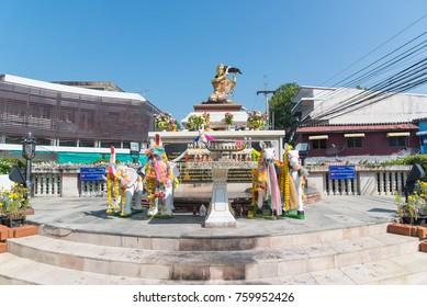 Sisaket,Thailand- October 29,2017 : Queen of Sisaket statue is a monument built to remember center on October 29,2017 in Sisaket , Thailand