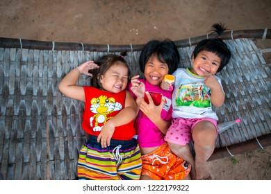 Sisaket,Thailand,04 November 2018;Cute Asian girls are smiling,Sisaket province,Thailand,ASIA.