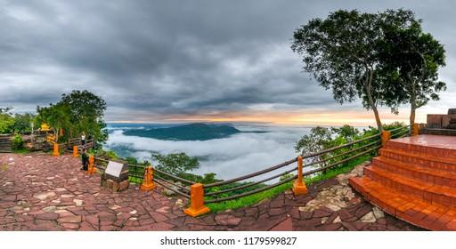 Sisaket,Thailand,13 September 2018; Panorama cloud fog  at Pha Mo i Daeng  Phra Wihan National Park. Sisaket province,Thailand,ASIA.
