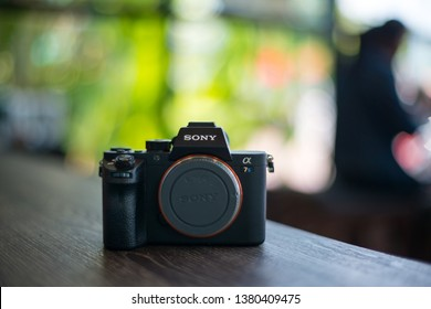 Sisaket,Thailand,18 April  2019;Body  Sony Alpha a7s  Mirrorless Digital Camera (Body Only) without lens. With a world's first full-frame 12-megapixel CMOS sensor,Thailand,ASIA.