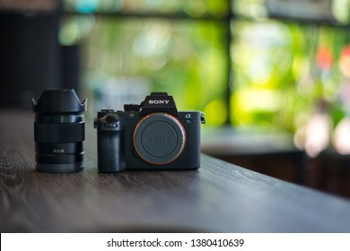 Sisaket,Thailand,18 April  2019;Body  Sony Alpha a7s  Mirrorless Digital Camera Body with lens. With a world's first full-frame 12-megapixel CMOS sensor,Thailand,ASIA.