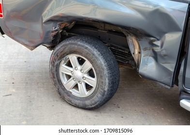 Sisaket,Thailand,21 April 2020;The car crashed down the road  caused by negligence,Accident on street.Sisaket province,Thailand,ASIA.