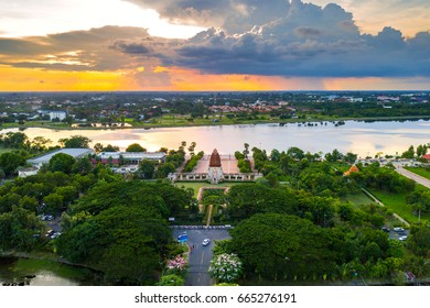 Sisaket,Thailand,22 JUNE 2017;Arial view over sunset of stone castle in Koh klang nam,Sisaket province,Thailand.