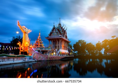 Sisaket,Thailand,27 JUNE 2017;A huge Thai Suphannahong, also called Golden Swan or Phoenix boat at the WatpahSuphannahong Temple,Sisaket province,Thailand.