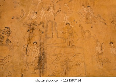 Sisaket,Thailand,30 September 2018; Inside the temple of Wat Ban Sadao (thai name) has many paintings on the life and customs of the ancient, old and beautiful  in Sisaket provice, Thailand.